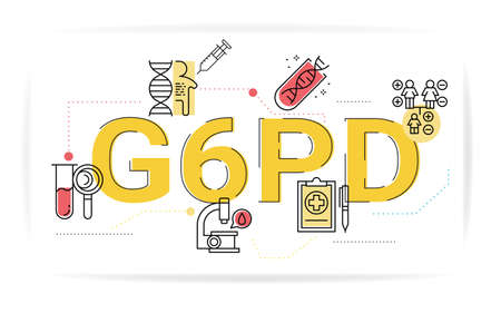 Illustration of glucose-6-phosphate dehydrogenase (G6PD) concept with icons.