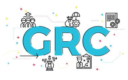 Illustration du concept de gouvernance, de risque et de conformité (GRC) avec des icônes. Vecteurs