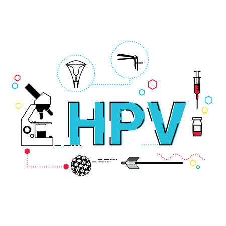 Illustration of Human Papillomavirus (HPV) concept with icons.