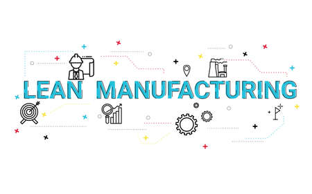 Illustration of lean manufacturing concept with icons.