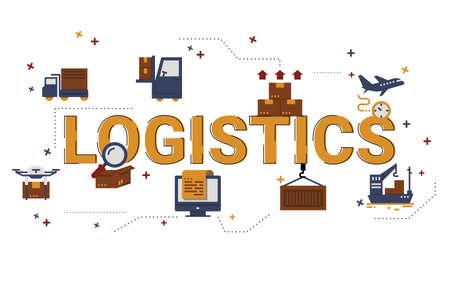 Illustration des Logistikkonzepts mit Symbolen.