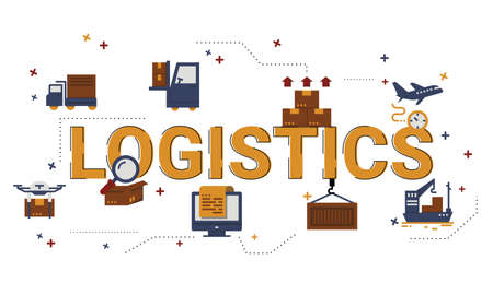 Illustration of logistics concept with icons. 일러스트