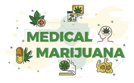 Illustration of medical marijuana concept with icons. Illustration