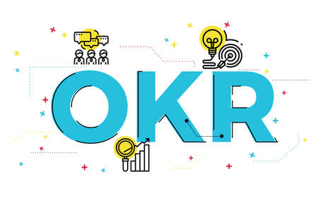 Illustration of Objectives and key results (OKR) concept with icons.