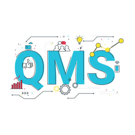 Illustration of Quality Management System (QMS) concept with icons.