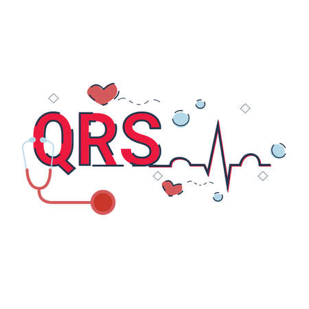 Illustration of QRS complex concept with icons. 向量圖像