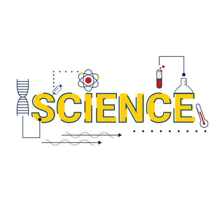 Illustration of science concept with icons.