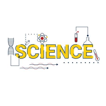 Ilustración del concepto de ciencia con iconos.