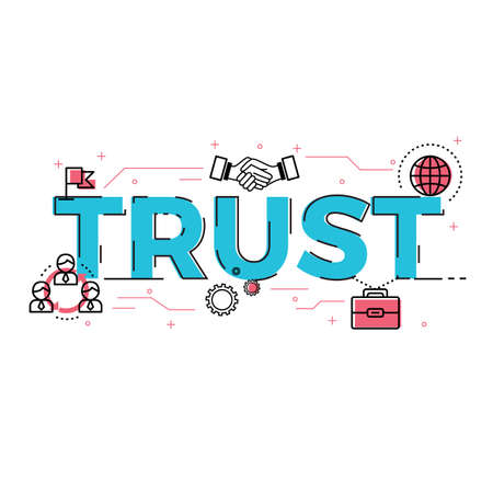 Illustration of trust concept with icons.