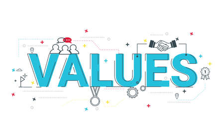 Illustration of values concept with icons. Standard-Bild - 129012962