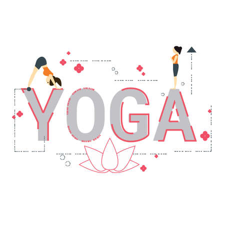 Illustration of yoga concept with icons. Illustration
