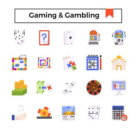gaming and gambling flat icon set.