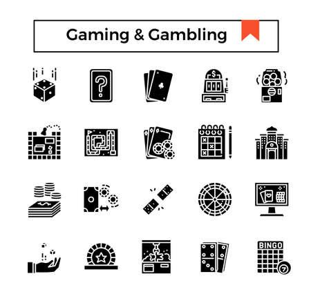 gaming and gambling glyph icon set.