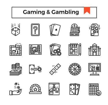 gaming and gambling outline icon set.  イラスト・ベクター素材