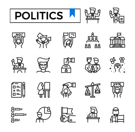 Politics outline icon set. Иллюстрация