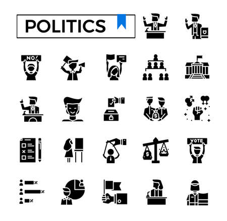 Politics glyph icon set. Иллюстрация