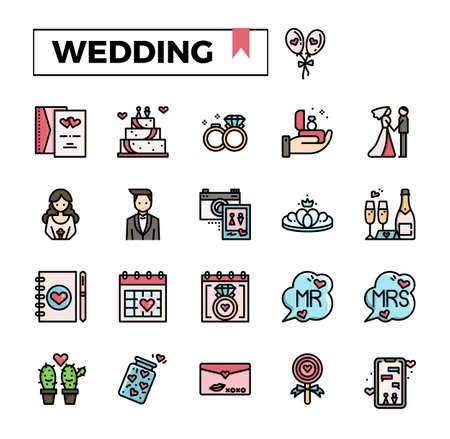 Wedding filled outline icon set. Stock Illustratie