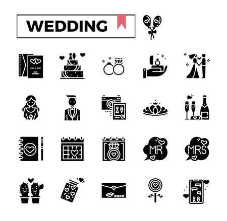 Wedding glyph icon set.