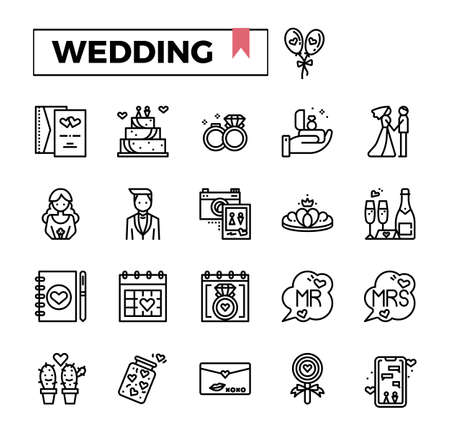 Wedding outline icon set. Stock Illustratie