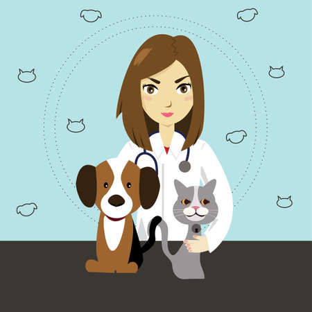 Illustration of veterinarian with cat and dog.