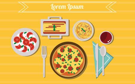 Illustration of italian food. Stock Illustratie