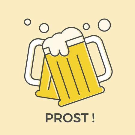 Beer mugs. Vektoros illusztráció