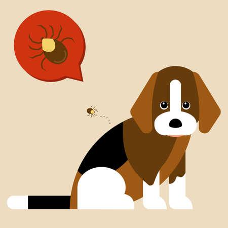 Illustraion of beagle dog and tick.