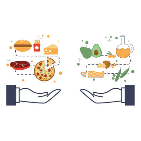 Illustration of variety of food between healthy and unhealthy.