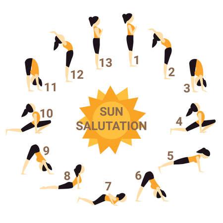 Illustration of sun salutation yoga pose. Illustration