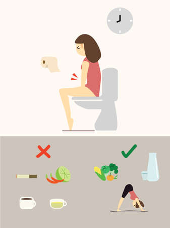 Illustration of woman with constipation problem. Stock Illustratie