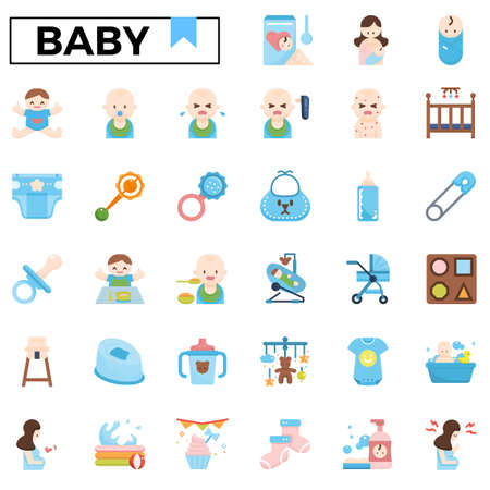 Baby care flat design icon set.