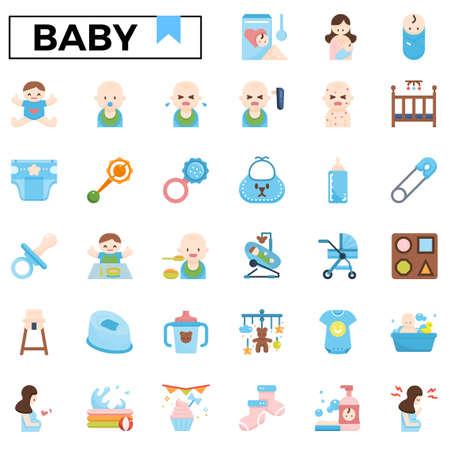 Baby care flat design icon set.