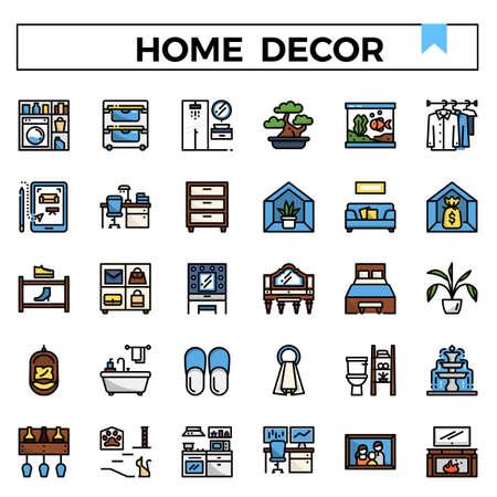 Home decoration filled outline design icon set. Standard-Bild - 129948175