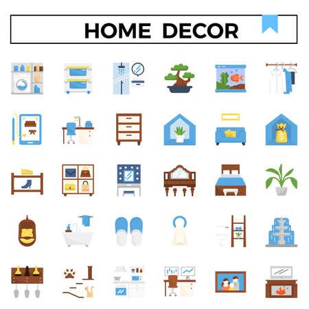 Home decoration flat design icon set. Standard-Bild - 129948173
