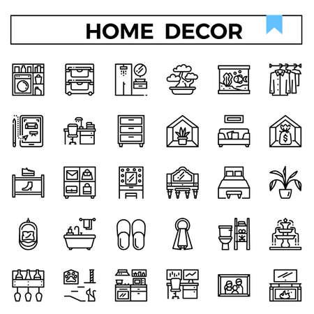 Home decoration outline design icon set. Standard-Bild - 129948176