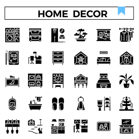 Home decoration glyph design icon set. Standard-Bild - 129948179