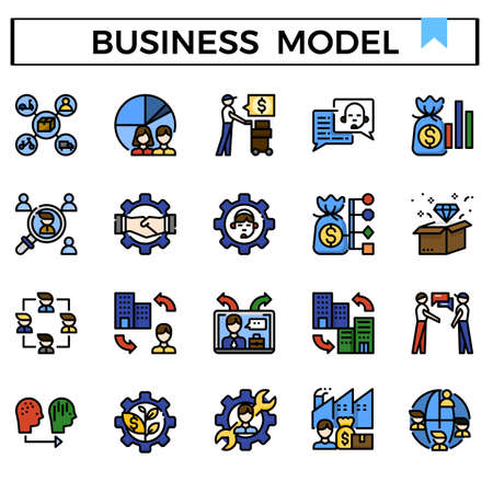 Business model filled outline icon set. Ilustração Vetorial