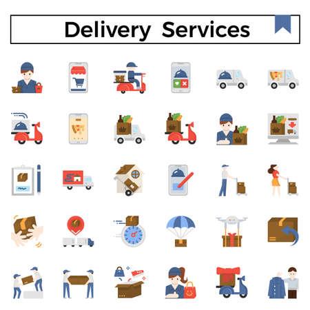 Insieme dell'icona di design piatto di servizi di consegna. Vettoriali