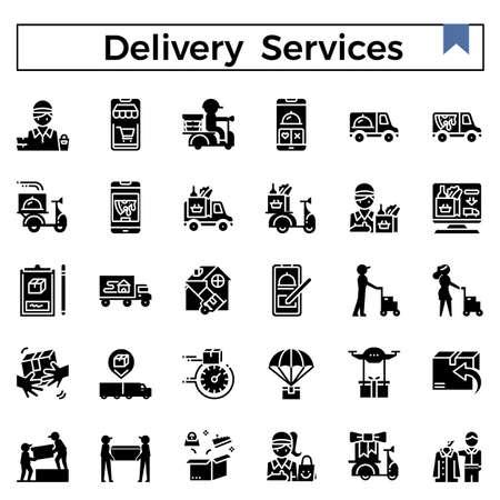 Ensemble d'icônes de conception de glyphe de services de livraison.