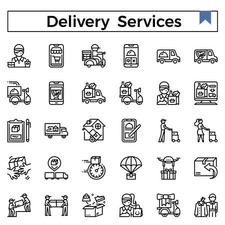 Delivery services outline design icon set.