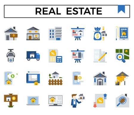 Real estate flat icon set. Vector Illustration
