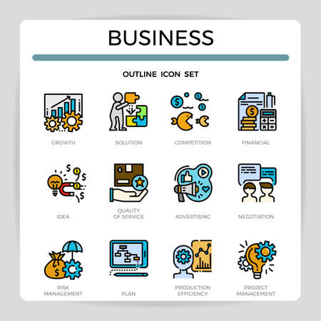 Business concept filled outline icon set.