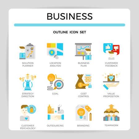 Business concept flat icon set. Illustration