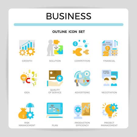 Business concept flat icon set. Ilustração