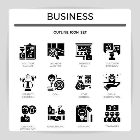 Business concept glyph icon set.