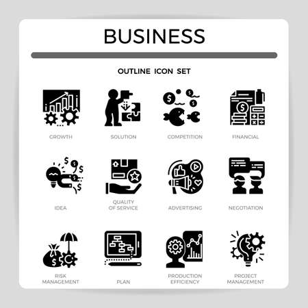 Business concept glyph icon set.