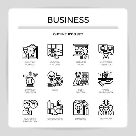 Business concept outline icon set.