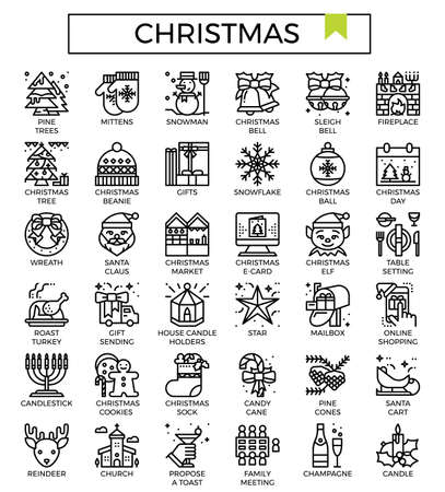 Christmas outline icon set.