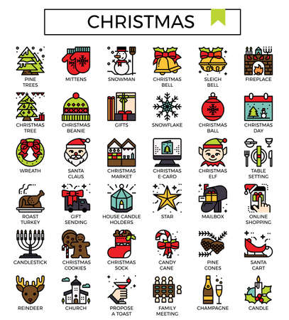 Christmas filled outline icon set.