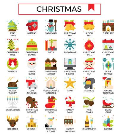 Christmas flat icon set. Ilustração